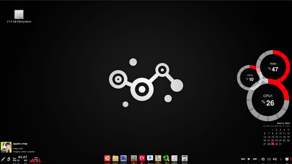 My Ubuntu Desktop with gnome-panel removed and replaced by Avant Window Navigator